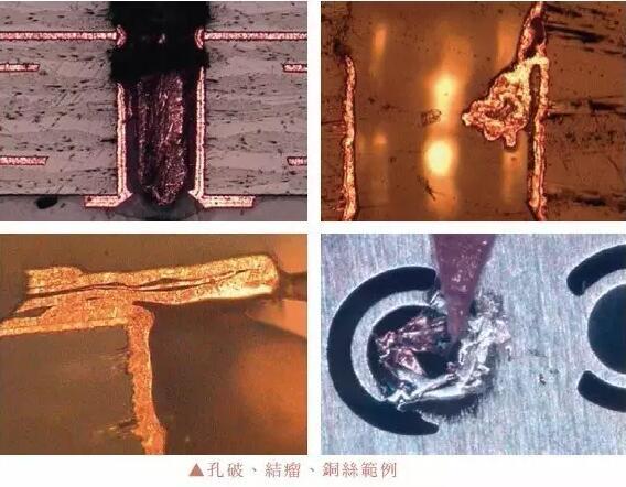 一铜制程如果发生孔破、孔壁有铜颗