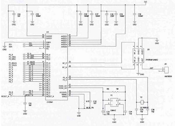 图2(a):系统电路原理图cc2541 部分