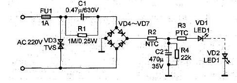 两脚ptc启动器接线图